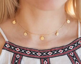 Boho Choker, Boho Coin Choker Necklace, Tiny Coin Necklace, Gold Boho Necklace, Dainty Boho Choker, Tiny Boho Necklace, Boho Chokers