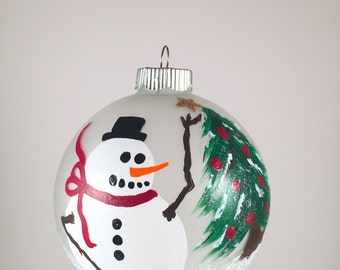 Hand Painted Snowman Ornament