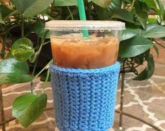 Crochet Coffee Sleeve in Sky Blue - Crochet Coffee Cozy - Coffee Cozy - Coffee Gift - Coffee Cup Cozy - Reusable Coffee Sleeve