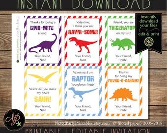 Printable Dinosaur Valentines | Kids Dinosaur Valentine Cards | T-Rex, Stegosaurus, Triceratops, Raptor, Brachiosaurus | Instant Download
