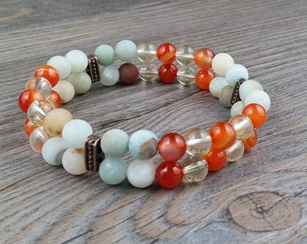 Double bracelet amazonite, red agate, citrine gemstones 6mm