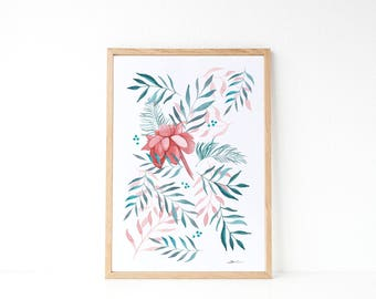 Tropical print : Tropical illustration, watercolors painting, floral decoration,housewarming gift idea. Spring decor