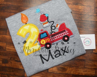 Boy's Fire Truck Birthday Shirt/ Fire Truck Birthday Shirt/ Fire Truck Applique Birthday Shirt/ Fire Birthday Party Shirt