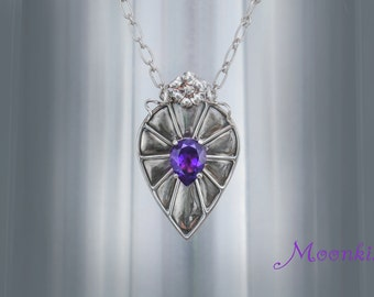 Ready to Ship - Large Silver Statement Necklace with Pear Shape Amethyst - Handmade Silver Pendant and Chain - Floral Amethyst Necklace