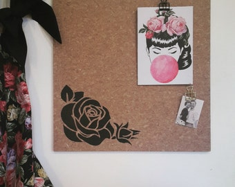 Rose design pinboard, hand painted cork board, memo board, bulletin board for kitchen, dining, study or bedroom