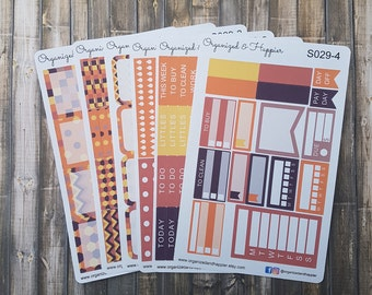 Weekly Personal Sticker Full Kit Erin Condren Planner headers boxes checklist tracker washi flags vertical matte paper #S029-Fall