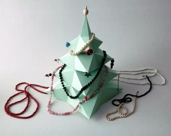 LOW POLY Christmas Tree Paper Decoration. Jewelry Tree