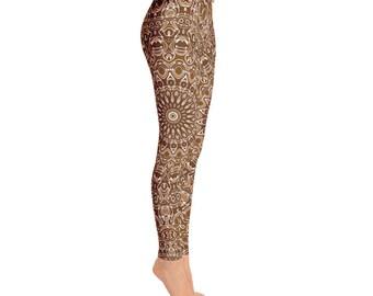 Brown Leggings - Brown and White Printed Leggings, Chocolate Brown Yoga Leggings, Mandala Art Tights, Stretchy Yoga Pants