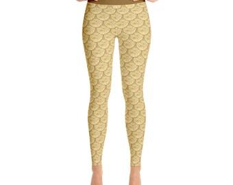 Gold Mermaid Leggings - Gold Dragon Scales Leggings, Fish Scales Leggings, Yoga Pants, Mermaid Pants, Printed Tights