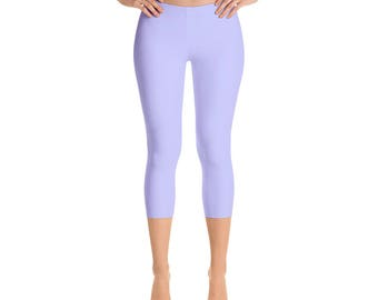 Capris - Periwinkle Leggings, Mid Rise Waist Workout Pants for Women, Yoga Leggings