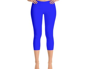 Capris - Blue Workout Pants, Womens Yoga Leggings, Mid Rise Waist Gym Pants