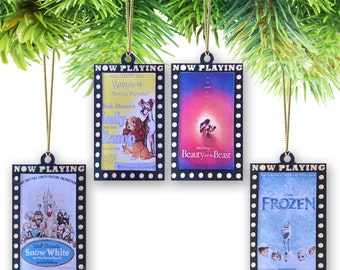Set of (4) Movie Marquee Poster Ornament Set-Disney Animated Movies (Pick & Choose from dozens of movie posters)