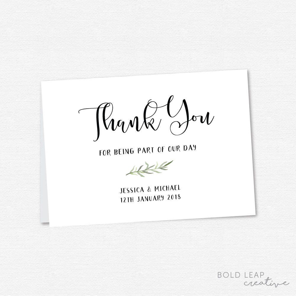 Watercolor Wreath Wedding Thank You Card - Printable Wedding ...