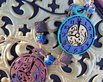 Blue and Teal Clock Pendant. Clock Necklace. Cord Necklace. Custom Necklace.