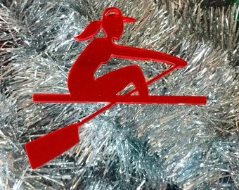 Red Female Rower