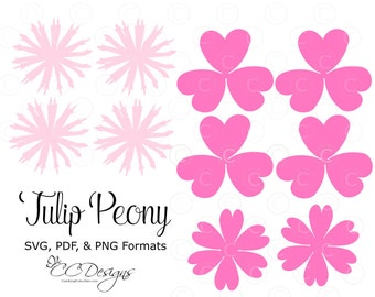 Tulip Peony Paper Flower Templates, DIY Paper Flower Kit, SVG Cut Files, Printable PDF Templates