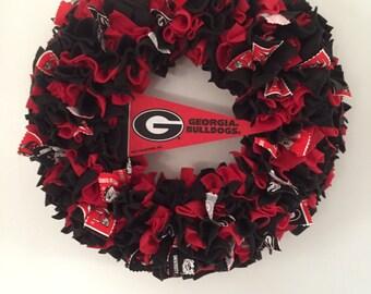 Georgia Bulldogs Wreath, University of Georgia, dorm decor, gift for Bulldogs fan, Georgia football fan, Athens, door decor, red and black,
