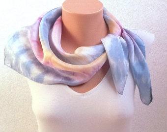 Hand dyed silk scarf Silk scarf Square silk scarf Bandana headband  Pink blue Hand painted silk a gift to a woman batik