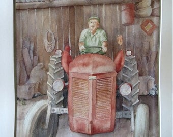 Peasant on his tractor - Original watercolor painting