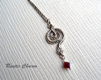 Peresonalized Birthstone Crystal Cobra Snake Pendant Necklace