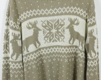 Vintage Sweater, Vintage Knit Pullover, 80s, 90s, Reindeer, Christmas, oversized look