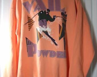 Vail Powder Men's Large Galt Sand VINTAGE Ski Sweatshirt