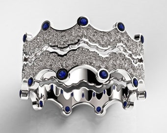 Sapphires Ring Set, Gold Ring Set, Blue Sapphires Rings, Rose Gold Sapphires Ring, White Gold Sapphires Ring, Sapphire Stacking Ring, Crown