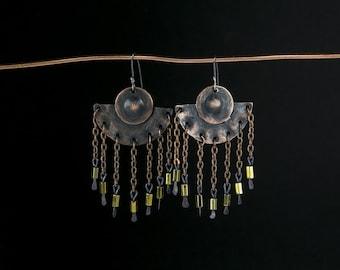 Gypsy earrings Handmade earrings Ethnic earrings Boho earrings Boho jewelry Chain earrings Metalwork jewelry Statement Gypsy Silver hooks