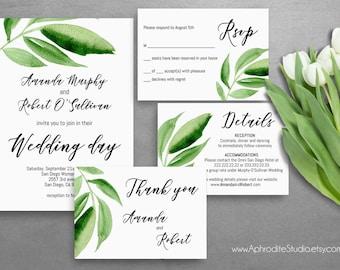 Greenery wedding invitation - Green wedding invitation suite - Digital wedding invitation - Greenery wedding - Botanical wedding invitations