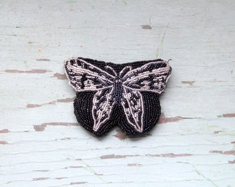 Vintage Neiman Marcus Beaded Butterfly Coin Purse - Black and Silver
