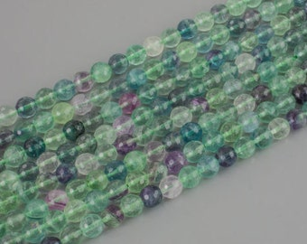 "Rainbow Flourite - Round Facted High Quality 15"" Strand 8MM, 10MM"