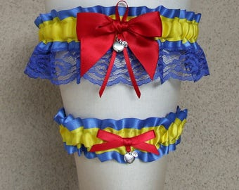 Snow White Garter Set in Royal Blue, Yellow, and Red with Apple charms / Fairy Tale Fairytale Princess Wedding Cosplay Prom