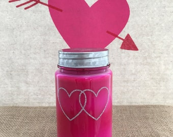 Pink Jar Silver Hearts Soy Candle - 16oz - Glacé scent