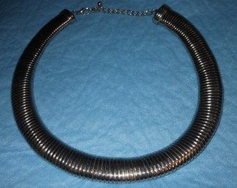 Vintage Heavy Silver Tone Snake Link Choker Necklace