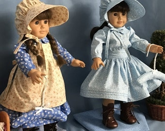 Laura and Mary Ingalls from Little House on the Prairie Costumes for 18 inch Girl Doll, Handmade Doll Clothes, MADE TO ORDER
