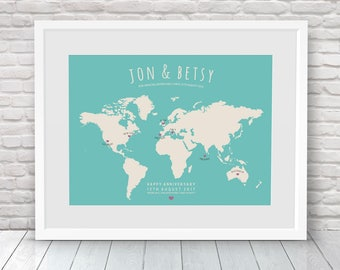 Travel Map, Personalised World Map, Places Where We've Been Map, Custom Travel Map, Where We Met Map, Our Life Journey Map, Map your travels
