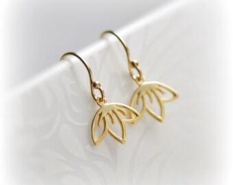 Delicate Dangle Earrings, Small Gold Earrings, Cherry Blossom Earrings, Gift for Her, Tiny Gold Charm Earrings, Sakura Earrings Blissaria