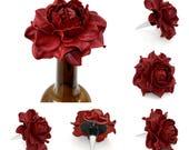 Best Gift Ever for Wine Lover! Flower Wine Bottle Stopper w/REAL Leather RED Rose, Designed Stopper, Wedding Favor, Metal Wine Cork Topper