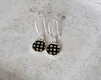 Handcrafted cabochon earrings, black and white , light hook earrings, Japanese paper with modern motif, gift for her