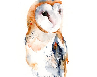 Barn Owl Watercolor Art Print: Modern owl art print perfect for owl themed room / barn owl watercolor wall art / owl giclee art print