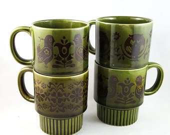 Olive Patterned Glazed Stacking Mug Set