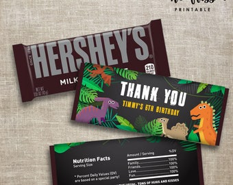Dinosaur Candy Bar Label | Hershey Chocolate Wrappers | Editable | Printable | Instant Download