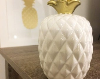 White and Gold Ceramic Pineapple Decor