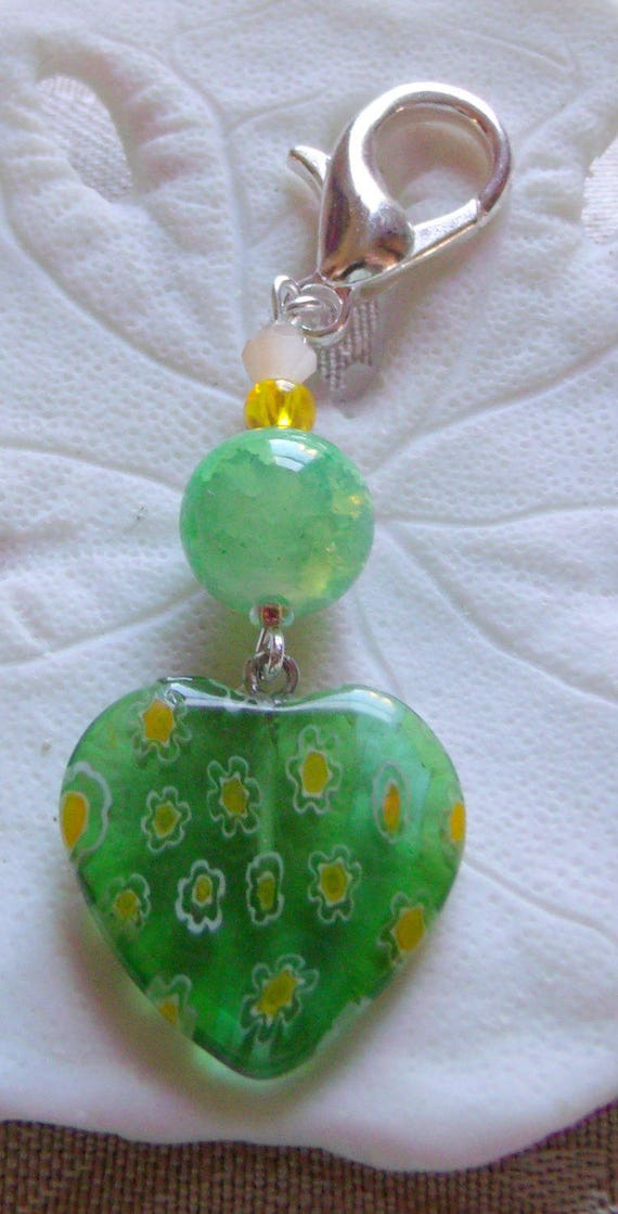 Glass heart zipper charm -  bright green - yellow heart accessory -  st Patrick day treat - spring / Ireland /U2 tour gift