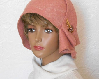 Women's hat, Felt hat, Pink hat, Elegant hat, Clothing made of felt, Winter hat, Warm hat, Woolen cap, Women's Winter Hats