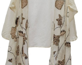 Floral Appliqué Lightweight Wool Gauze High Low Jacket Kimono Duster Ivory Beige