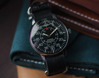 Soviet watch Aviator, Black watch, Mechanical watch, Vintage watch, Watch mens, Military watch, Wrist watch men, USSR watch