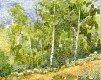Green trees Ochre hill  ACEO Original watercolor Summer landscape Blue sky White clowds Miniature Art Small painting