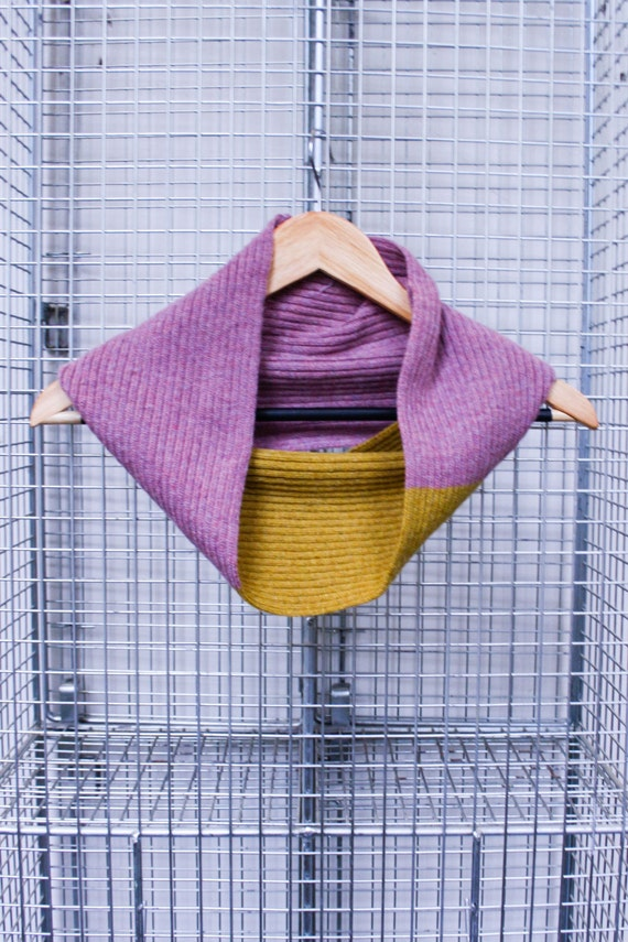 Knitted Lambswool Circle Infinity Scarf in Pink and Mustard/ Womens Scarf/ Scandi Inspired Scarf/ Pink and Mustard Scarf