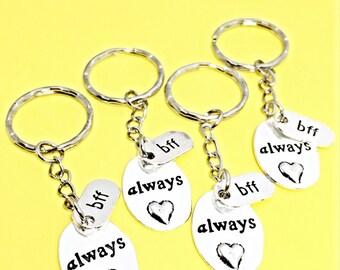 Best friends keychain - set of four, bff charm, 4 bff keychain, set of 4 best friend,customized keychain,monogram,initial keychain, bff gift
